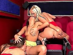 Turned on lusty and wild lezzies Carla Cox, Carmen and Peaches film each other during