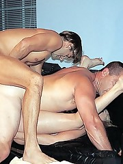 Steamy bi boys fucking each other while sucking hot babe