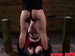 chained blonde slut gets a face full of cock