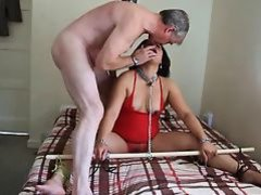 Asian MILF hogtied
