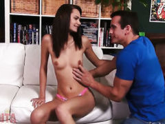 Brunette Mimi Rayne with small breasts and shaved cunt