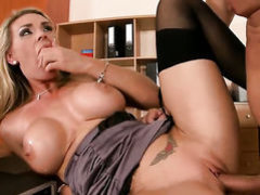 Blonde Tanya Tate with juicy hooters loves to suck