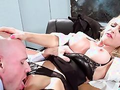 blonde bitch gets loose at work