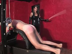 Young brunette mistress caning