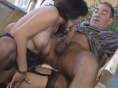 Pretty Italian woman rear fucked by older man
