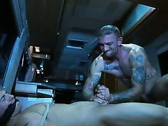tattooed gay dominates a slutty partner