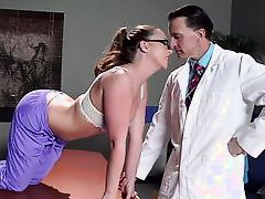 naughty patient plays with doctor's cock