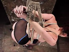helpless babe gets tied up with ropes