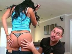 Raven haired sexy Madison Foxx with tanlined big booty removes her tiny thong and gets her sweet juicy