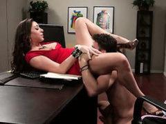 Brunette MILF in red Kaylynn gets humped
