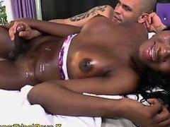 Bareback ebony tgirl drops her big cumload