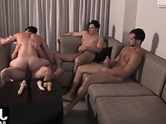 Aspen tries to handle three raw cocks as they pound him hard