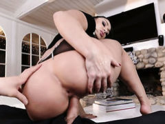With huge melons gets jizz covered