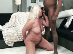 Mature with gigantic tits is hungry for cream