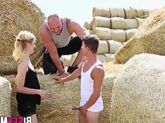 Muscular dude railing blonde and dude