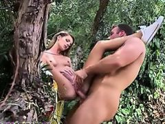 Alluring lustful Bella fucks outdoors