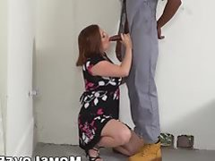 Lustful MILF gets her way with the two big hard black cocks
