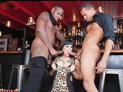 Bartender gets some Black Dicks at work