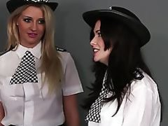 Brit femdom cops jerking and cocksucking sub