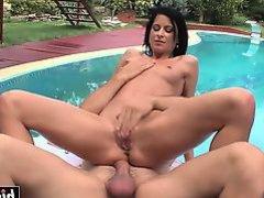 Sweet girl fucks by the pool