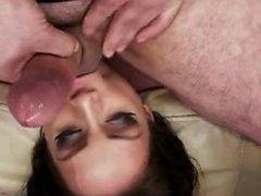 Brunette pornstar threesome and cumshot