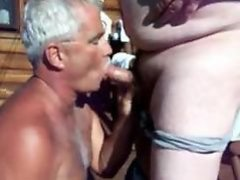 Shooting cum on daddys face