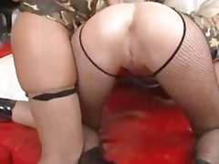 Two skanky tramps anal fucked with Roccos throbbing pecker