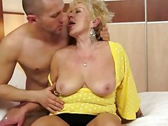 Hot busty granny enjoys hard fucking