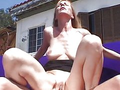 Blond mature bitch outside pussy play