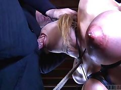 stiff 10-Pounder sucking with tits on fire