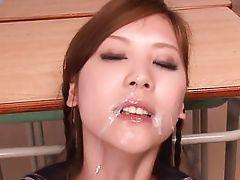 schoolgirl takes cumshots