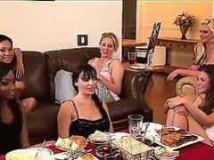 Allie Haze, Asa Akira, Dana DeArmond, Julia Ann and Phoenix Marie are sitting and